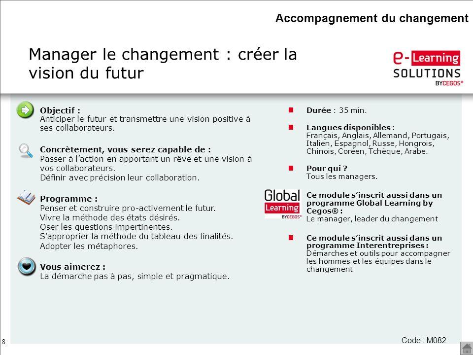 8 Code : M082 Manager le changement : créer la vision du futur Durée : 35 min. Langues disponibles : Français, Anglais, Allemand, Portugais, Italien,