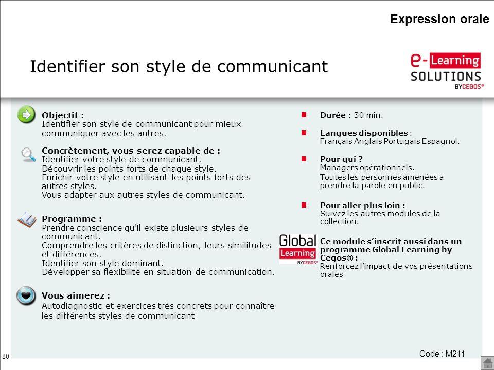 80 Identifier son style de communicant Durée : 30 min. Langues disponibles : Français Anglais Portugais Espagnol. Pour qui ? Managers opérationnels. T