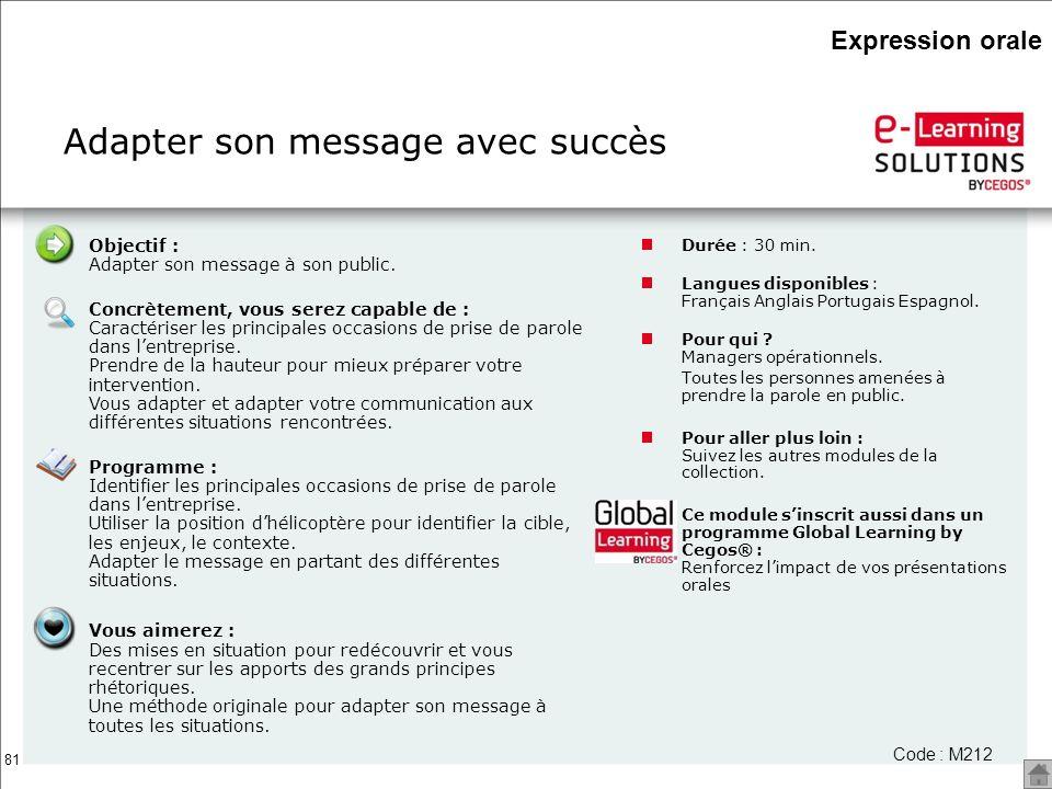 81 Adapter son message avec succès Durée : 30 min. Langues disponibles : Français Anglais Portugais Espagnol. Pour qui ? Managers opérationnels. Toute