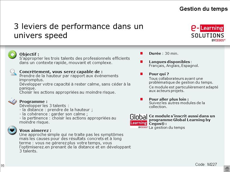 95 3 leviers de performance dans un univers speed Durée : 30 min. Langues disponibles : Français, Anglais, Espagnol. Pour qui ? Tous collaborateurs ay