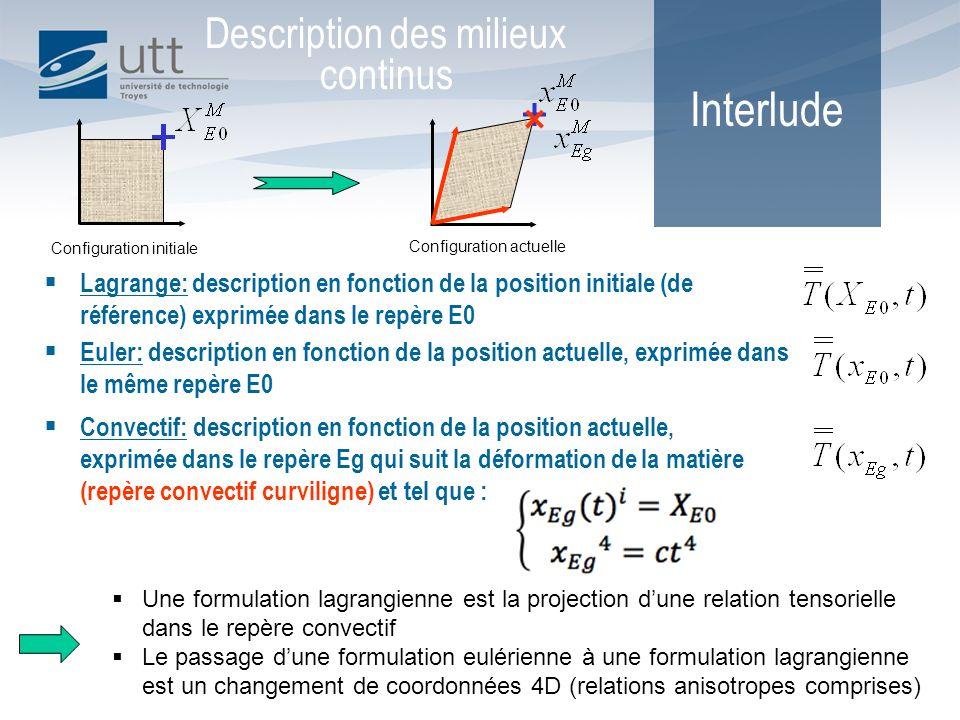 Convectif: description en fonction de la position actuelle, exprimée dans le repère Eg qui suit la déformation de la matière (repère convectif curvili