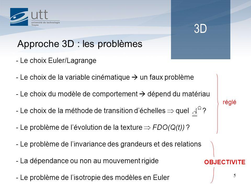 5 3D Approche 3D : les problèmes - Le choix Euler/Lagrange - Le choix de la variable cinématique un faux problème - Le choix du modèle de comportement