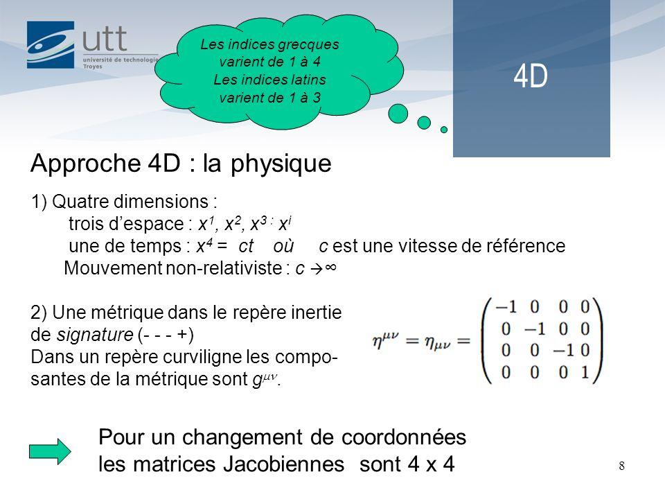 8 4D Approche 4D : la physique 1) Quatre dimensions : trois despace : x 1, x 2, x 3 : x i une de temps : x 4 = ct où c est une vitesse de référence Mo