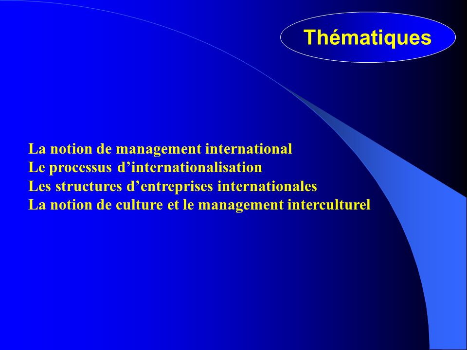Thématiques La notion de management international Le processus dinternationalisation Les structures dentreprises internationales La notion de culture