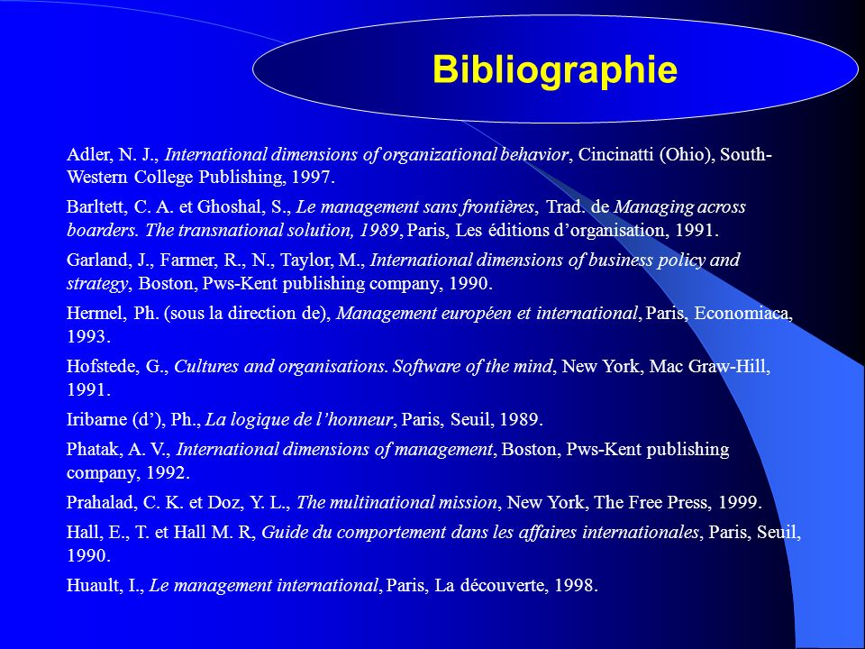 Bibliographie Adler, N. J., International dimensions of organizational behavior, Cincinatti (Ohio), South- Western College Publishing, 1997. Barltett,