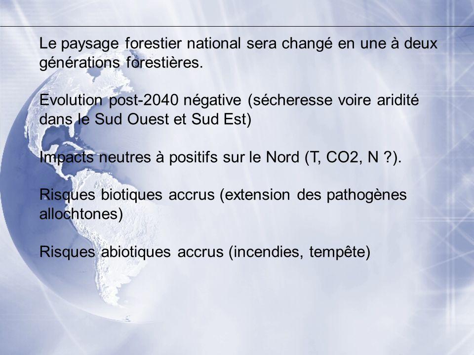 Le paysage forestier national sera changé en une à deux générations forestières. Evolution post-2040 négative (sécheresse voire aridité dans le Sud Ou