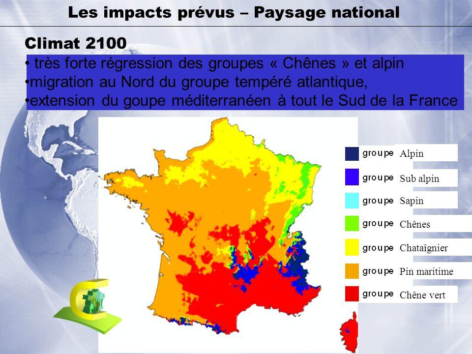 Climat 2100 très forte régression des groupes « Chênes » et alpin migration au Nord du groupe tempéré atlantique, extension du goupe méditerranéen à t