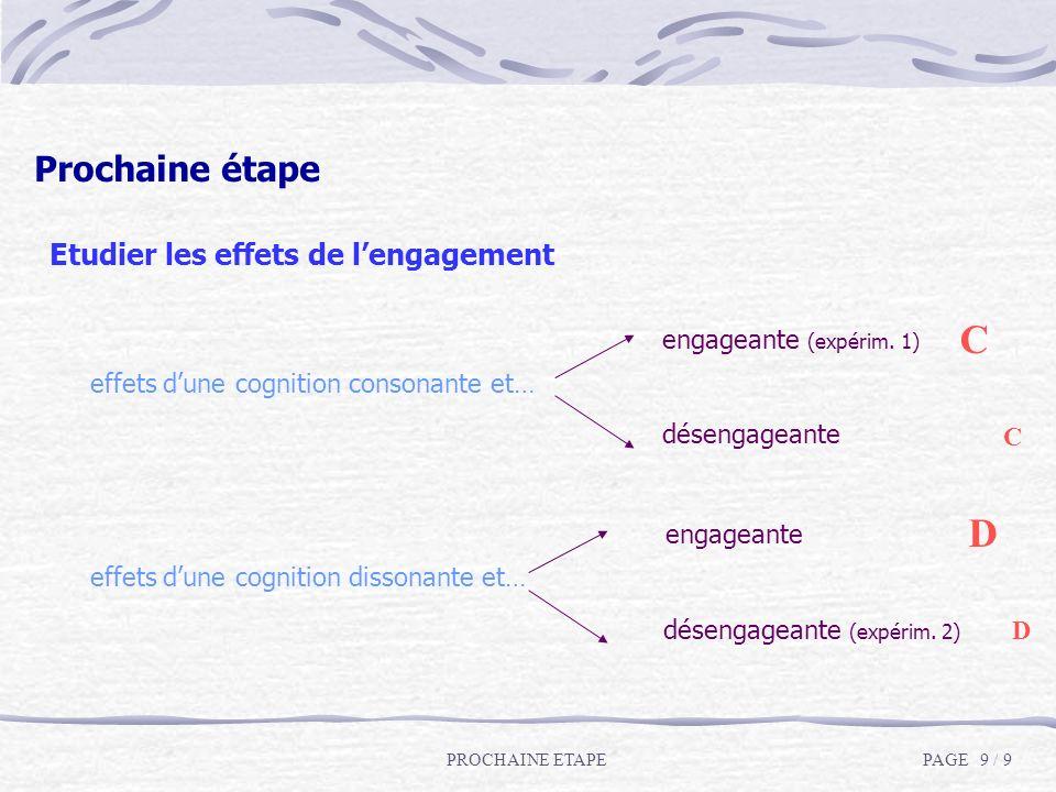 Etudier les effets de lengagement effets dune cognition consonante et… engageante (expérim. 1) désengageante effets dune cognition dissonante et… enga