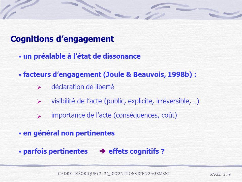 Cognitions dengagement un préalable à létat de dissonance facteurs dengagement (Joule & Beauvois, 1998b) : en général non pertinentes parfois pertinen
