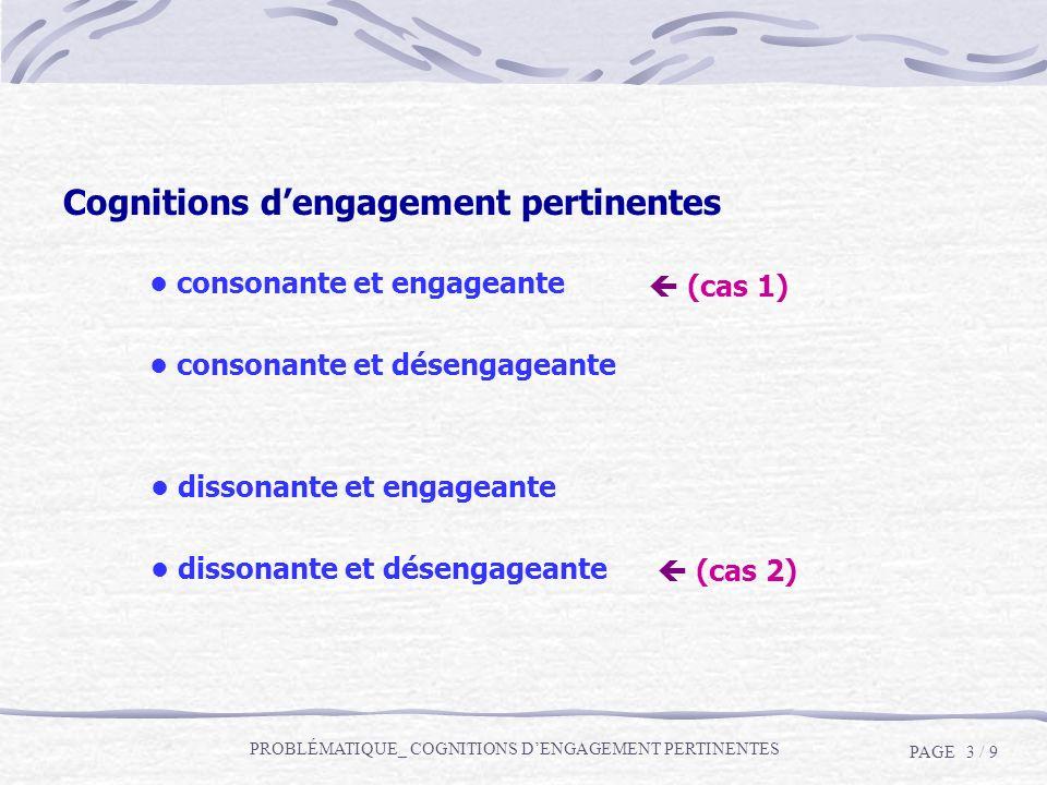Cognitions dengagement pertinentes consonante et désengageante dissonante et engageante dissonante et désengageante consonante et engageante (cas 1) (