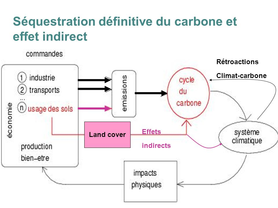 13 Séquestration définitive du carbone et effet indirect Rétroactions Climat-carbone Effets indirects Land cover