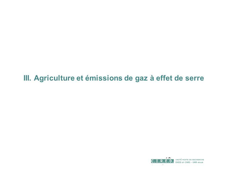 18 III. Agriculture et émissions de gaz à effet de serre