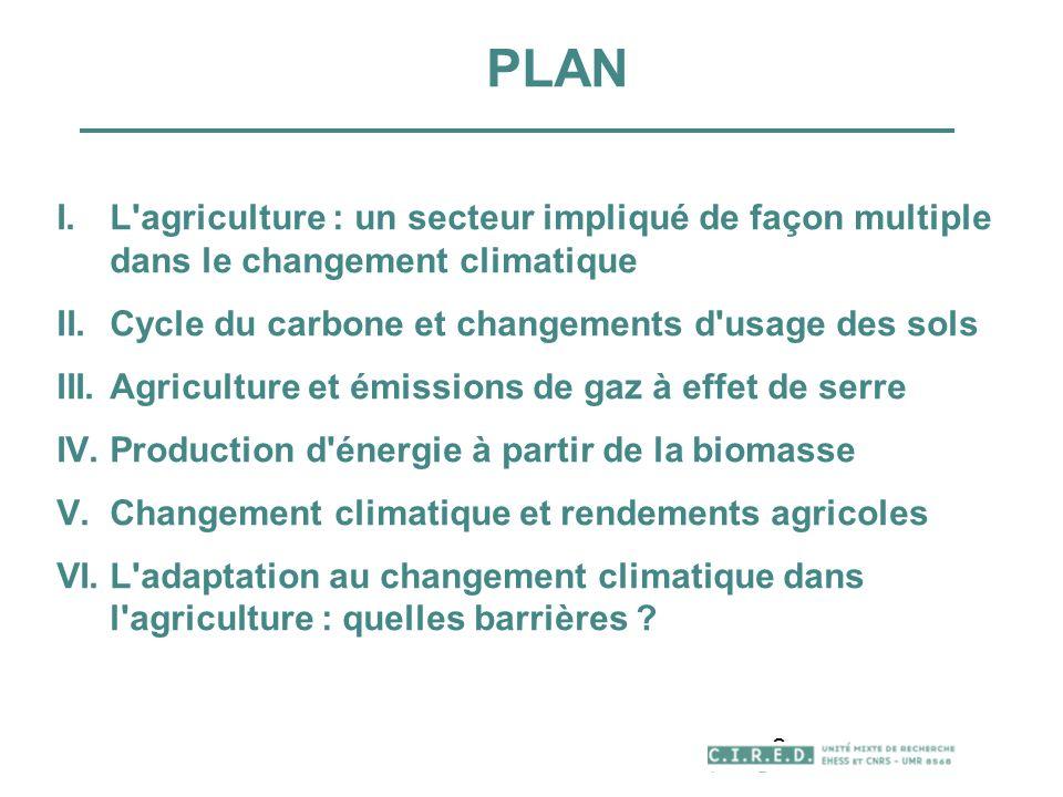 2 PLAN I.L'agriculture : un secteur impliqué de façon multiple dans le changement climatique II.Cycle du carbone et changements d'usage des sols III.A