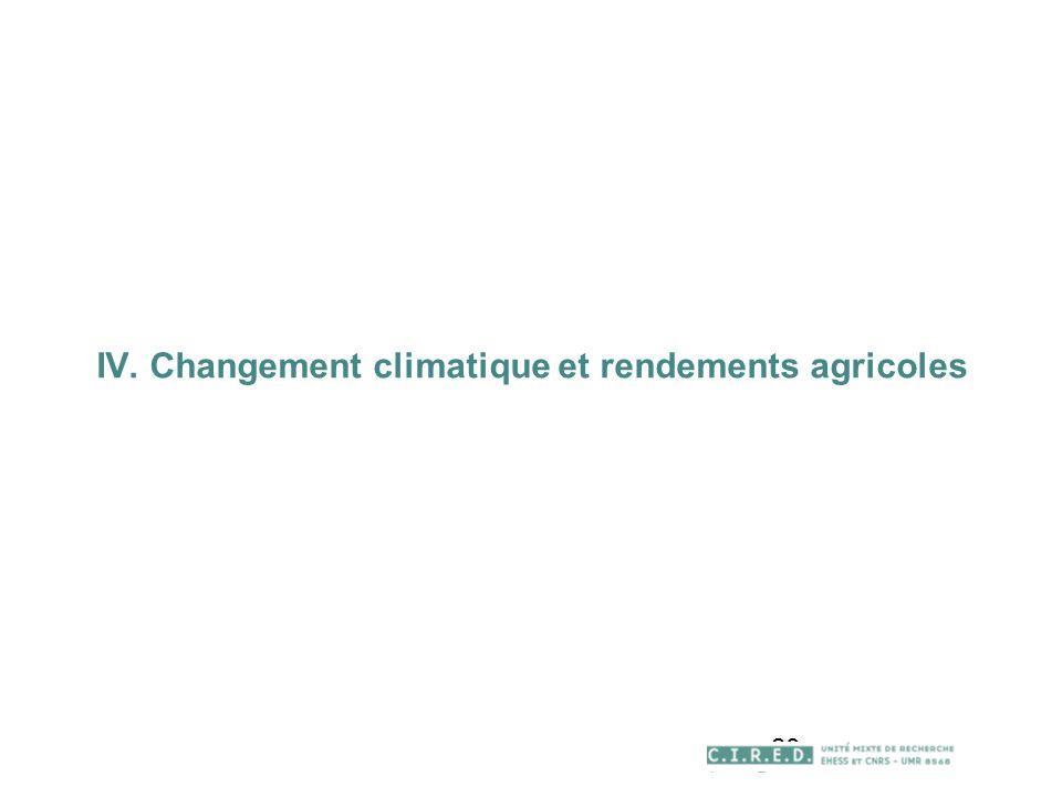 28 IV. Changement climatique et rendements agricoles