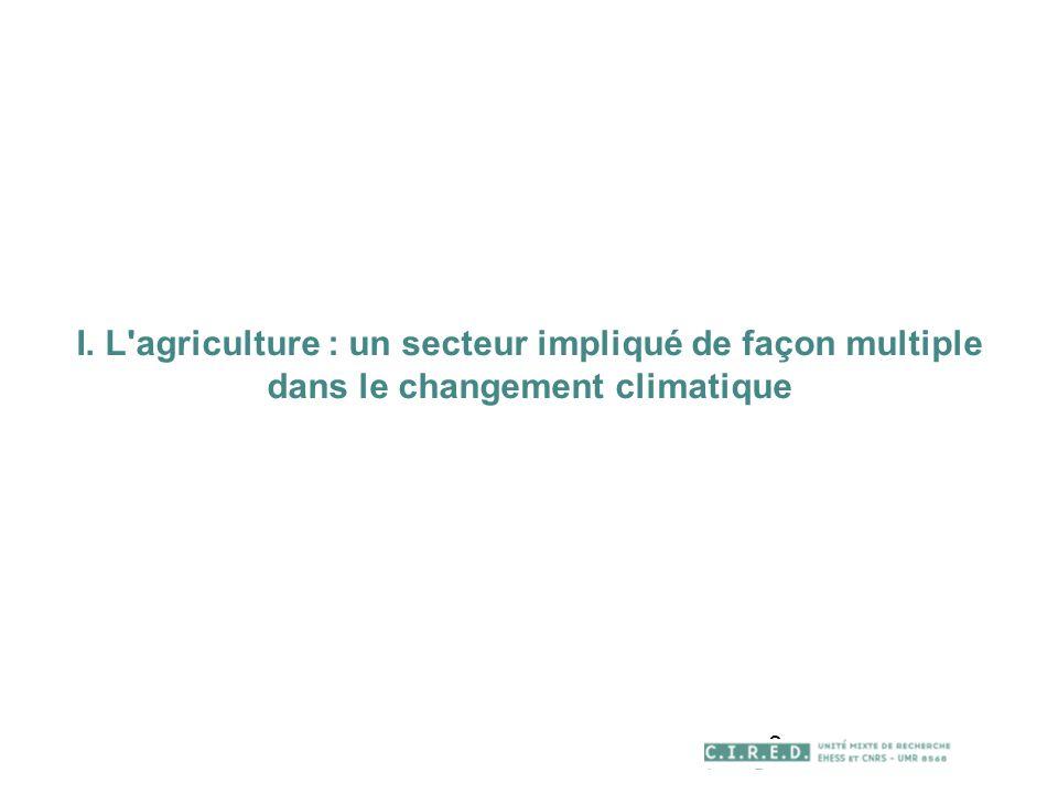 3 I. L agriculture : un secteur impliqué de façon multiple dans le changement climatique