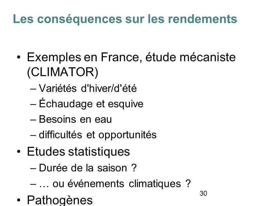 30 Exemples en France, étude mécaniste (CLIMATOR) –Variétés d hiver/d été –Échaudage et esquive –Besoins en eau –difficultés et opportunités Etudes statistiques –Durée de la saison .