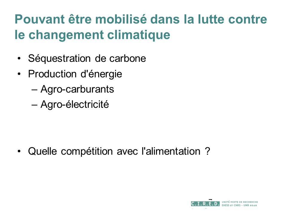 7 Pouvant être mobilisé dans la lutte contre le changement climatique Séquestration de carbone Production d énergie –Agro-carburants –Agro-électricité Quelle compétition avec l alimentation