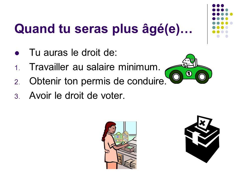 Quand tu seras plus âgé(e)… Tu auras le droit de: 1. Travailler au salaire minimum. 2. Obtenir ton permis de conduire. 3. Avoir le droit de voter.
