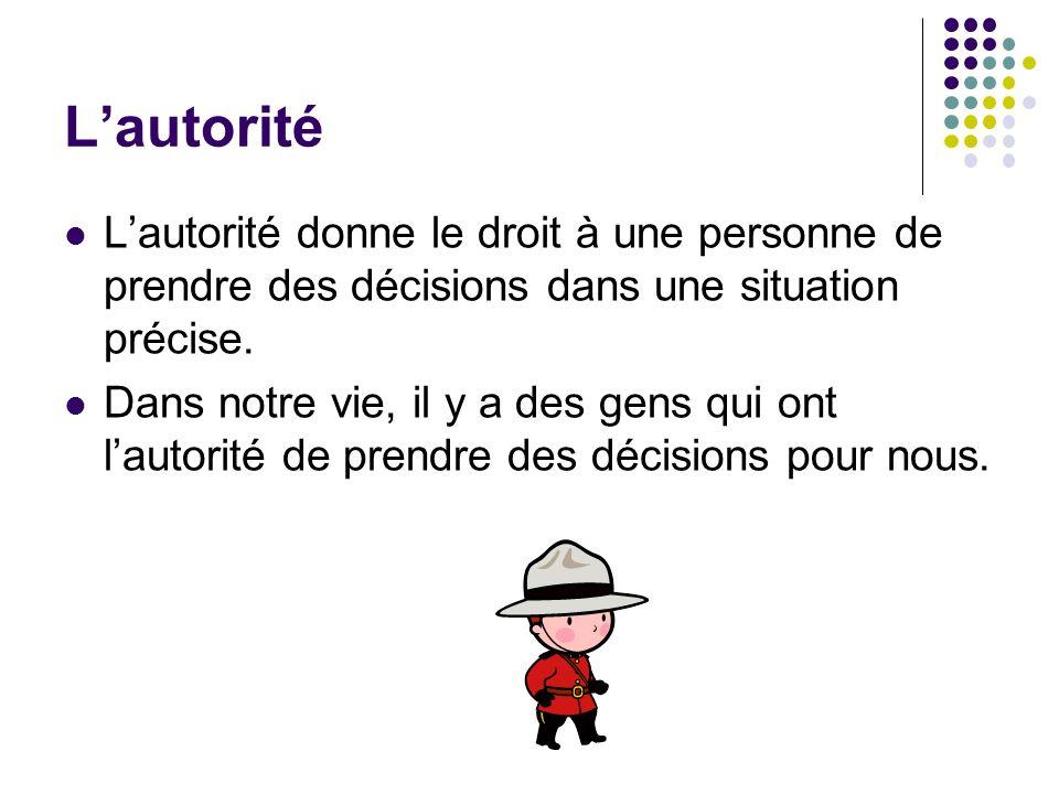 Lautorité Lautorité donne le droit à une personne de prendre des décisions dans une situation précise. Dans notre vie, il y a des gens qui ont lautori