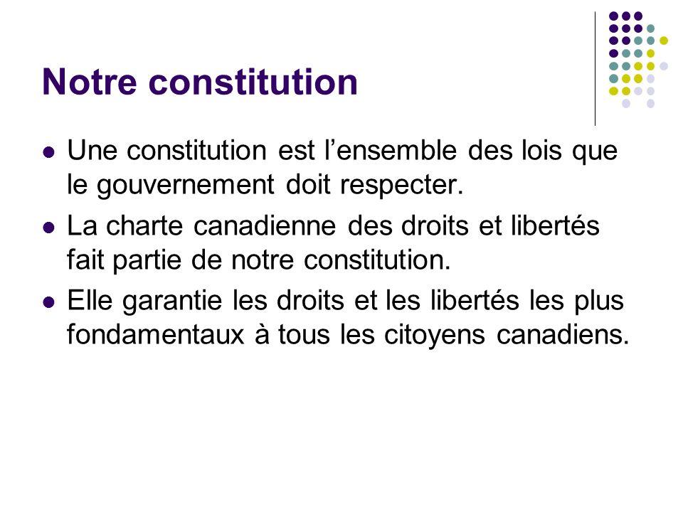 Notre constitution Une constitution est lensemble des lois que le gouvernement doit respecter. La charte canadienne des droits et libertés fait partie
