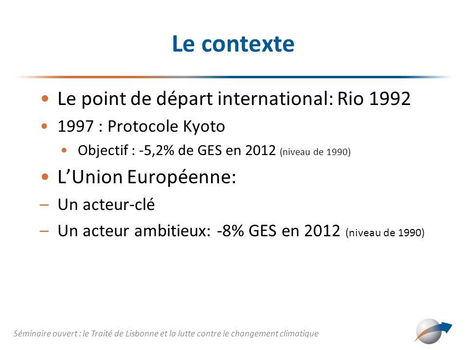 Le contexte Le point de départ international: Rio 1992 1997 : Protocole Kyoto Objectif : -5,2% de GES en 2012 (niveau de 1990) LUnion Européenne: –Un