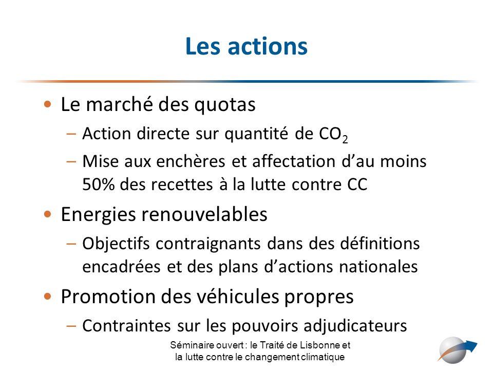 Les actions Le marché des quotas –Action directe sur quantité de CO 2 –Mise aux enchères et affectation dau moins 50% des recettes à la lutte contre C