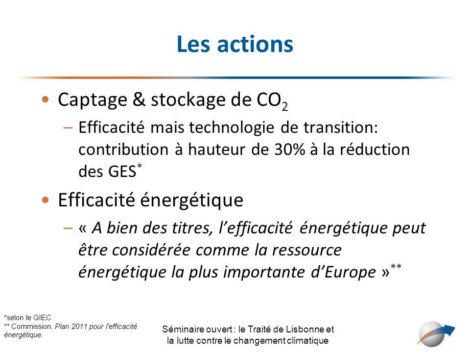 Les actions Captage & stockage de CO 2 –Efficacité mais technologie de transition: contribution à hauteur de 30% à la réduction des GES * Efficacité é