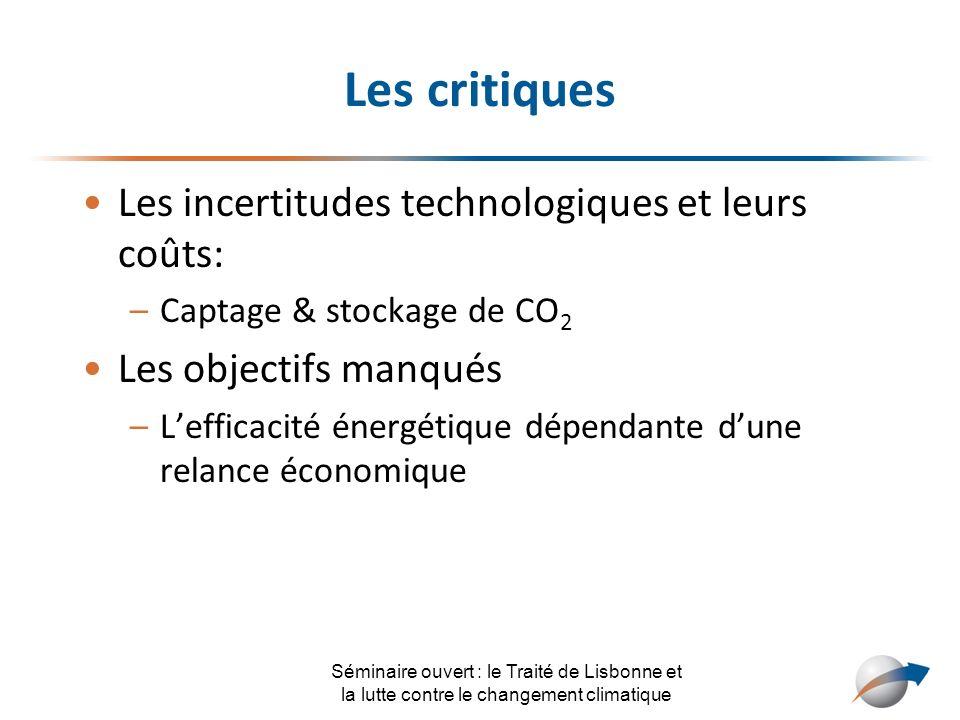 Les critiques Les incertitudes technologiques et leurs coûts: –Captage & stockage de CO 2 Les objectifs manqués –Lefficacité énergétique dépendante du