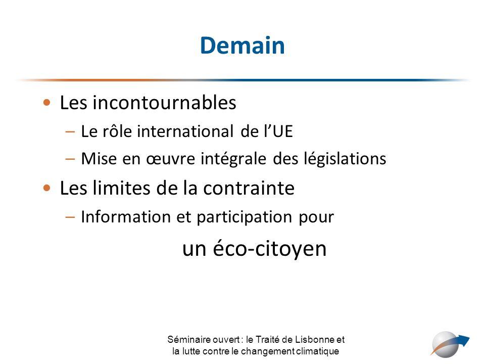Demain Les incontournables –Le rôle international de lUE –Mise en œuvre intégrale des législations Les limites de la contrainte –Information et partic