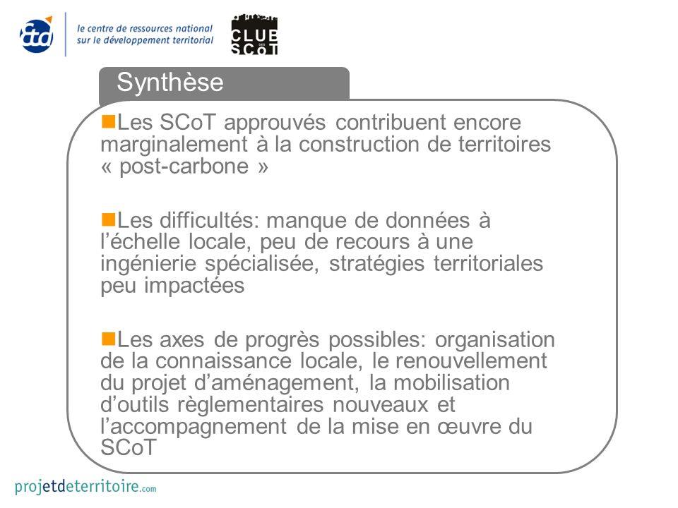Synthèse Les SCoT approuvés contribuent encore marginalement à la construction de territoires « post-carbone » Les difficultés: manque de données à lé