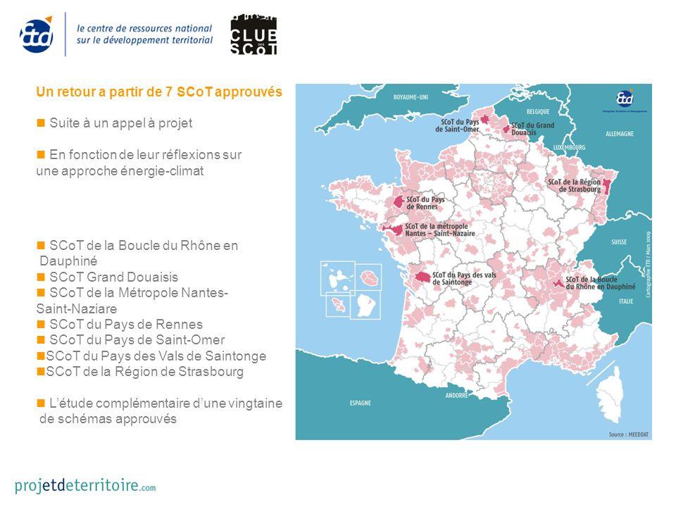 Un retour a partir de 7 SCoT approuvés Suite à un appel à projet En fonction de leur réflexions sur une approche énergie-climat SCoT de la Boucle du Rhône en Dauphiné SCoT Grand Douaisis SCoT de la Métropole Nantes- Saint-Naziare SCoT du Pays de Rennes SCoT du Pays de Saint-Omer SCoT du Pays des Vals de Saintonge SCoT de la Région de Strasbourg Létude complémentaire dune vingtaine de schémas approuvés