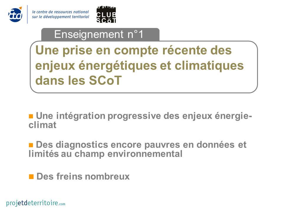 Une prise en compte récente des enjeux énergétiques et climatiques dans les SCoT Enseignement n°1 Une intégration progressive des enjeux énergie- climat Des diagnostics encore pauvres en données et limités au champ environnemental Des freins nombreux