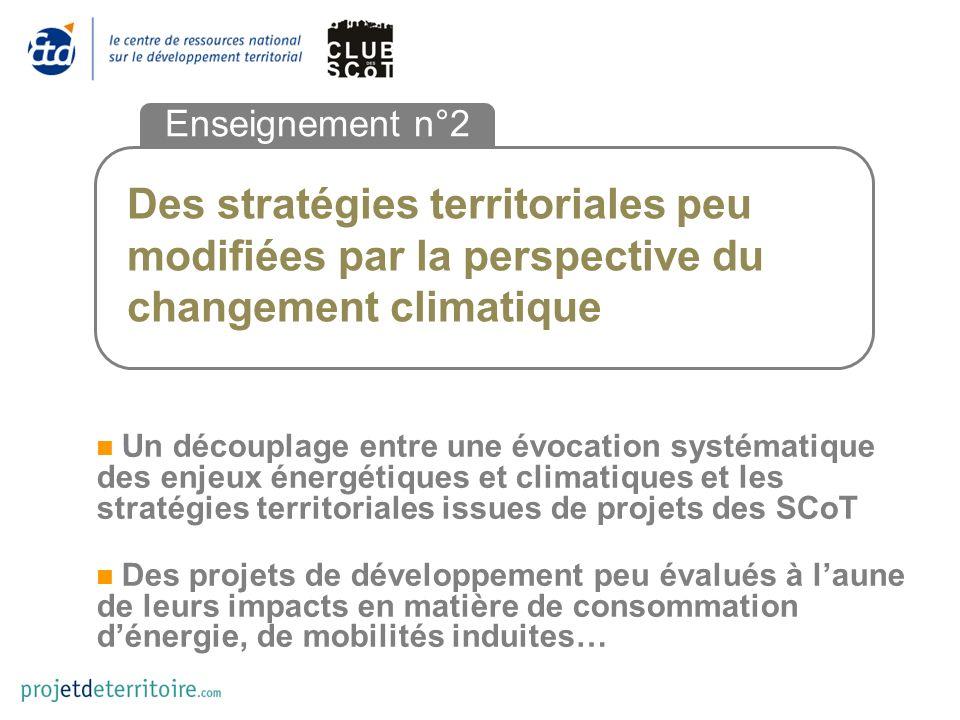 Des stratégies territoriales peu modifiées par la perspective du changement climatique Enseignement n°2 Un découplage entre une évocation systématique
