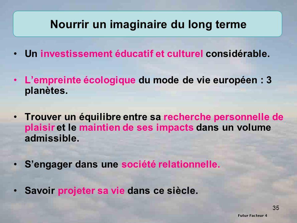 Futur Facteur 4 35 Nourrir un imaginaire du long terme Un investissement éducatif et culturel considérable. Lempreinte écologique du mode de vie europ