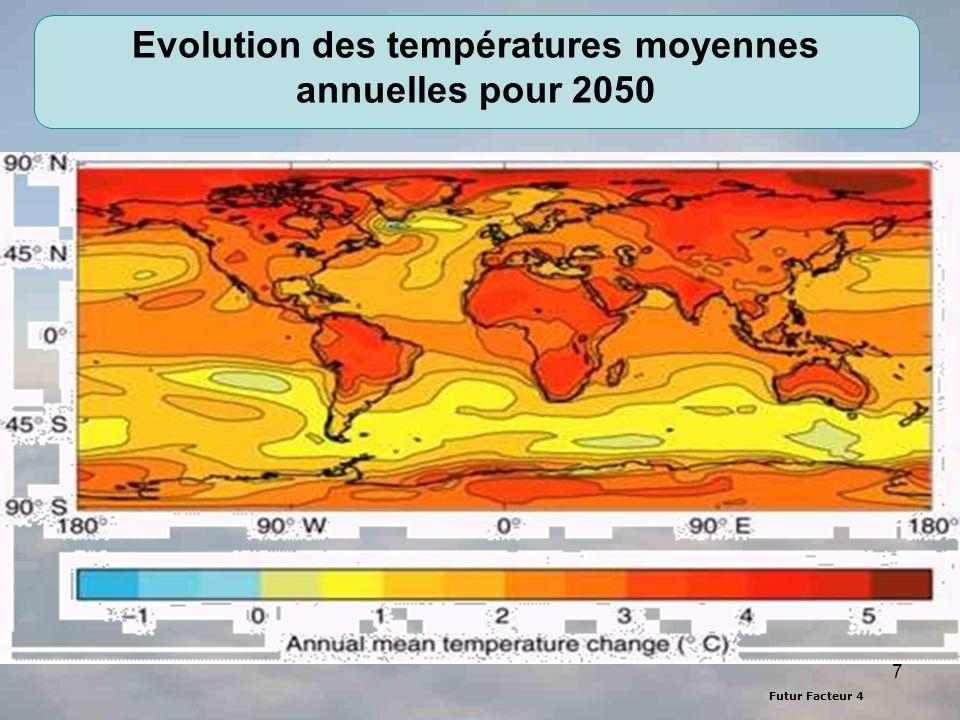 Futur Facteur 4 8 Convention ADEME Projection des changements de précipitations en 2050 Projection des changements annuels de précipitations par rapport à la situation actuelle pour un accroissement des concentrations de GES de 1% par an.