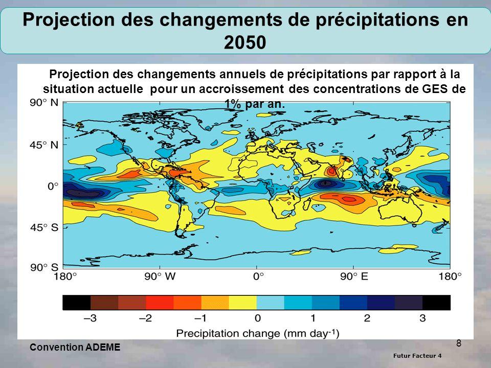 Futur Facteur 4 8 Convention ADEME Projection des changements de précipitations en 2050 Projection des changements annuels de précipitations par rappo
