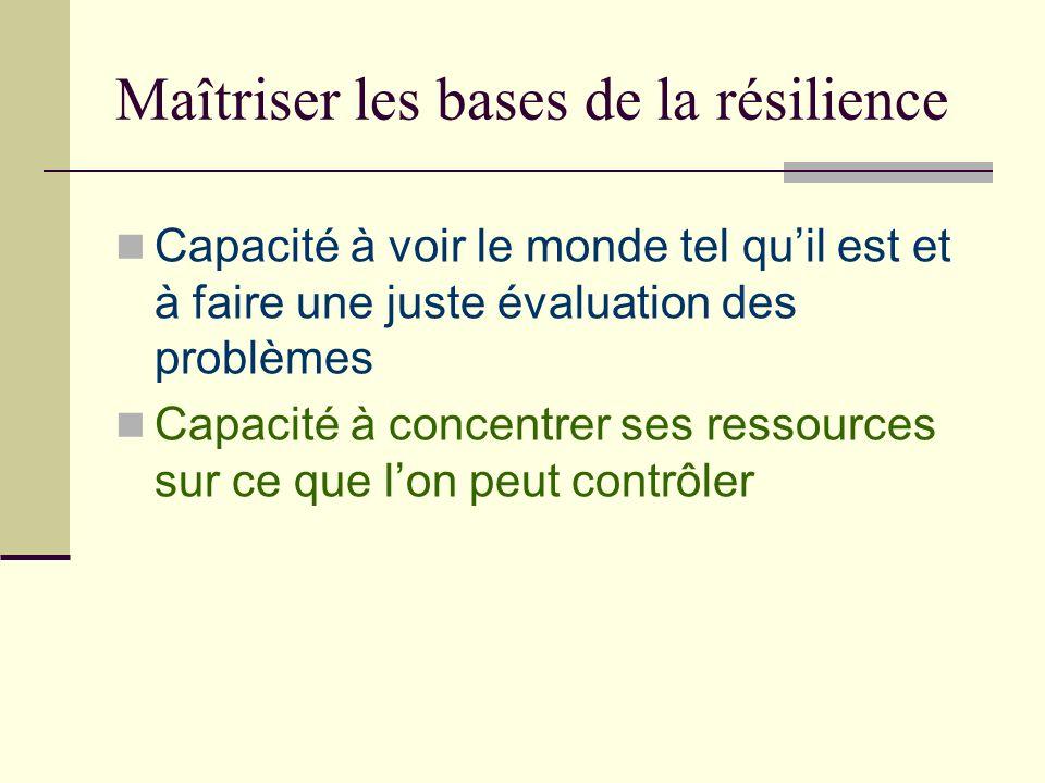 Maîtriser les bases de la résilience Capacité à voir le monde tel quil est et à faire une juste évaluation des problèmes Capacité à concentrer ses res