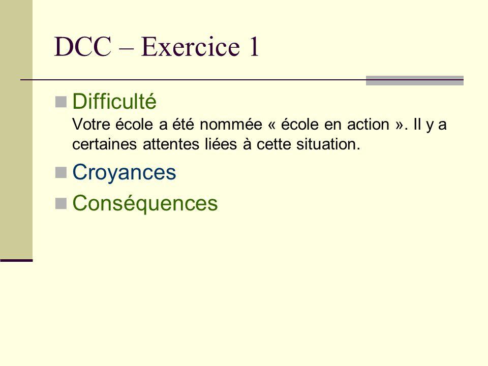 DCC – Exercice 1 Difficulté Votre école a été nommée « école en action ». Il y a certaines attentes liées à cette situation. Croyances Conséquences