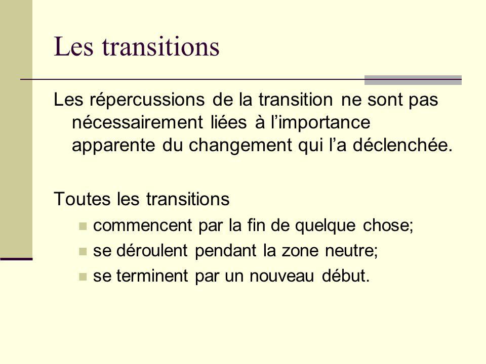 Les transitions Les répercussions de la transition ne sont pas nécessairement liées à limportance apparente du changement qui la déclenchée. Toutes le