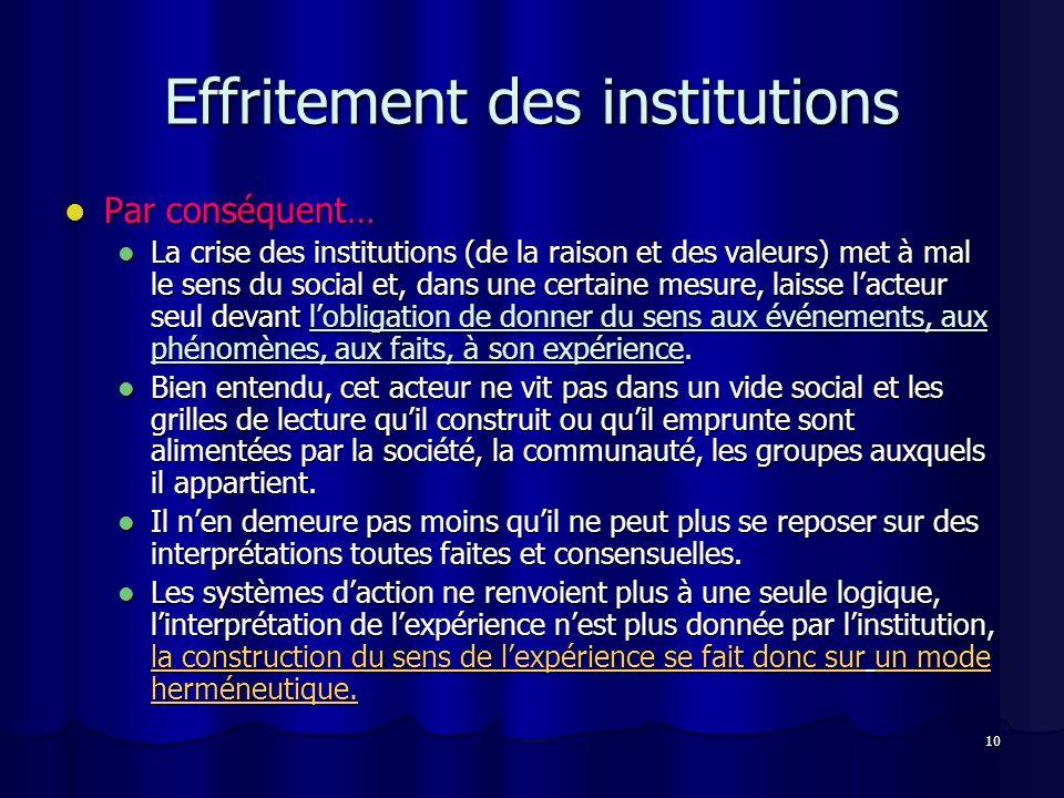 10 Effritement des institutions Par conséquent… Par conséquent… La crise des institutions (de la raison et des valeurs) met à mal le sens du social et