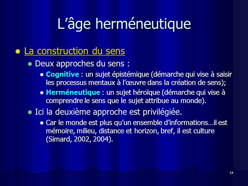 14 Lâge herméneutique La construction du sens La construction du sens Deux approches du sens : Cognitive : un sujet épistémique (démarche qui vise à s
