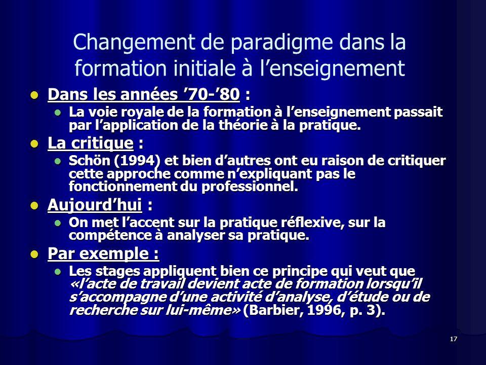 17 Changement de paradigme dans la formation initiale à lenseignement Dans les années 70-80 : Dans les années 70-80 : La voie royale de la formation à lenseignement passait par lapplication de la théorie à la pratique.