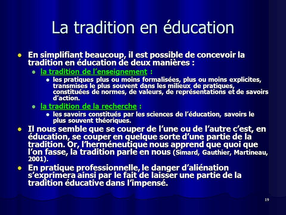 19 La tradition en éducation En simplifiant beaucoup, il est possible de concevoir la tradition en éducation de deux manières : En simplifiant beaucou