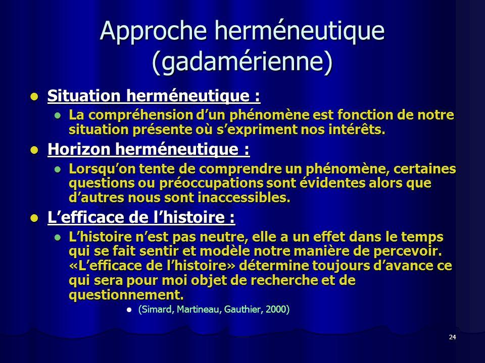 24 Approche herméneutique (gadamérienne) Situation herméneutique : Situation herméneutique : La compréhension dun phénomène est fonction de notre situ