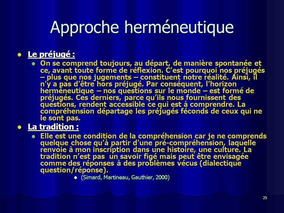 25 Approche herméneutique Le préjugé : Le préjugé : On se comprend toujours, au départ, de manière spontanée et ce, avant toute forme de réflexion.