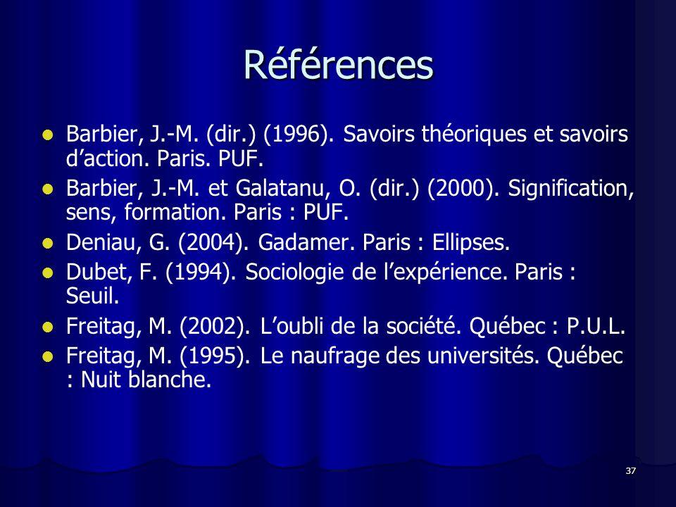 37 Références Barbier, J.-M. (dir.) (1996). Savoirs théoriques et savoirs daction. Paris. PUF. Barbier, J.-M. et Galatanu, O. (dir.) (2000). Significa