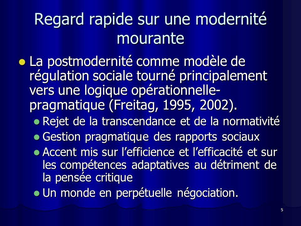 5 Regard rapide sur une modernité mourante La postmodernité comme modèle de régulation sociale tourné principalement vers une logique opérationnelle- pragmatique (Freitag, 1995, 2002).