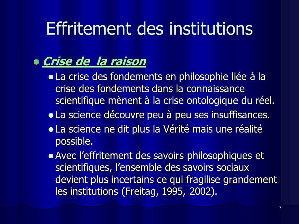 7 Effritement des institutions Crise de la raison Crise de la raison La crise des fondements en philosophie liée à la crise des fondements dans la connaissance scientifique mènent à.