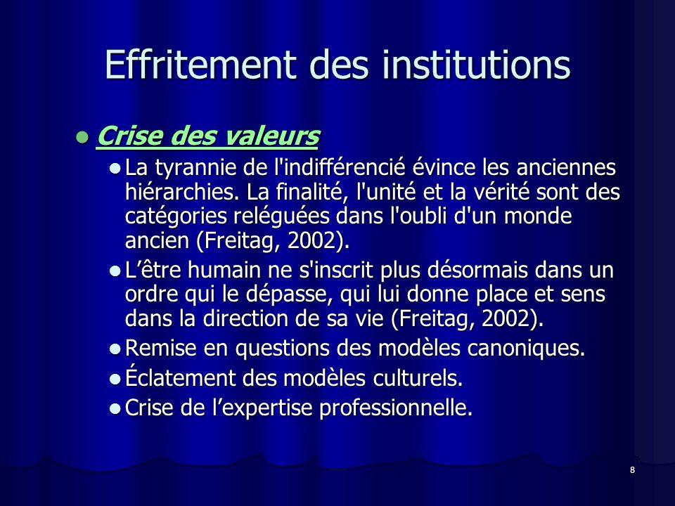 8 Effritement des institutions Crise des valeurs Crise des valeurs La tyrannie de l'indifférencié évince les anciennes hiérarchies. La finalité, l'uni