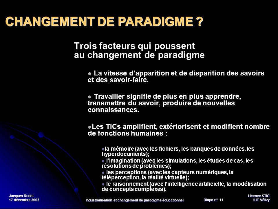 Licence STIC Diapo n°Vélizy Diapo n° 11 IUT Vélizy Jacques Rodet 17 décembre 2003 Industrialisation et changement de paradigme éducationnel Trois fact